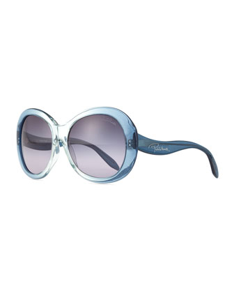 Oversize Round Sunglasses, Light Blue