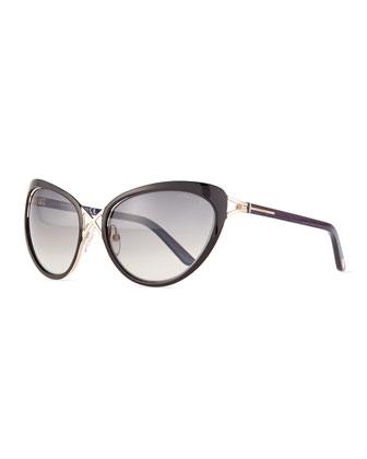 Daria Metal Sunglasses, Black/Shiny Pale Gold