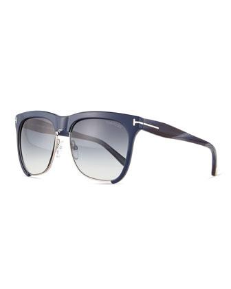 Thea Dual-Rimmed Sunglasses, Dark Blue/Silver