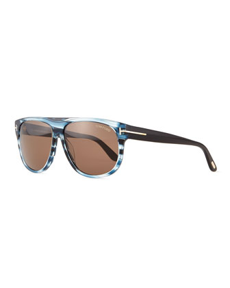 Kristen Rectangle Sunglasses, Striped Blue