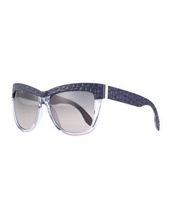 Lizard-Brow Cat-Eye Sunglasses, Purple