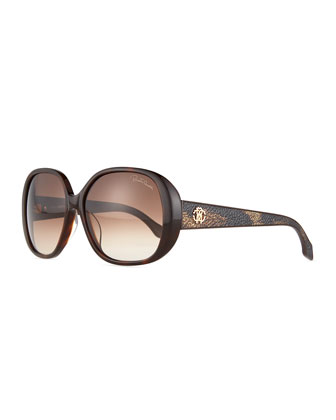 Taj Acetate Round Sunglasses, Dark Havana