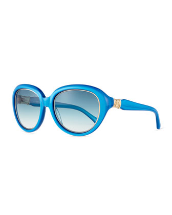 Acqua Golden-Trimmed Sunglasses, Pearled Turquoise