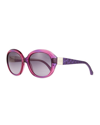 Two-Tone Acetate Sunglasses, Purple Multi