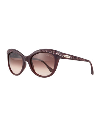 Acubens Snake-Embossed Sunglasses, Dark Cherry