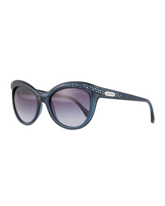 Acubens Snake-Embossed Sunglasses, Blue