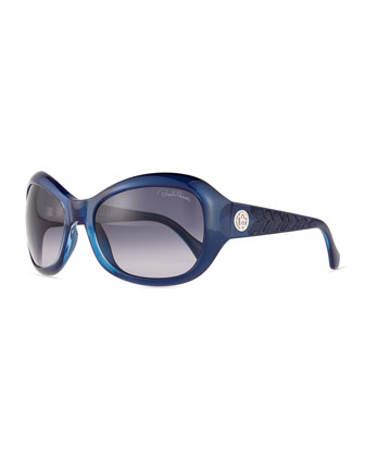 Aldhibah Round Sunglasses, Shiny Pearl Blue