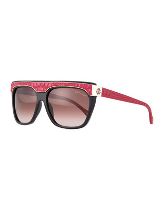 Albireo Lizard-Brow Sunglasses, Black/Red