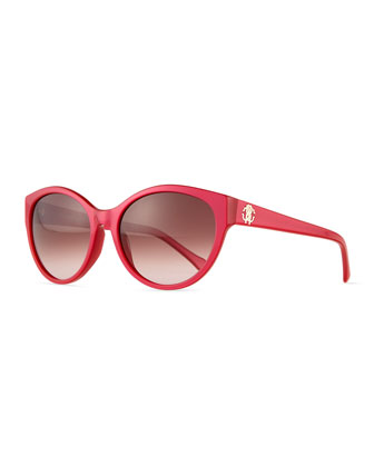 Round Acetate Sunglasses, Pink