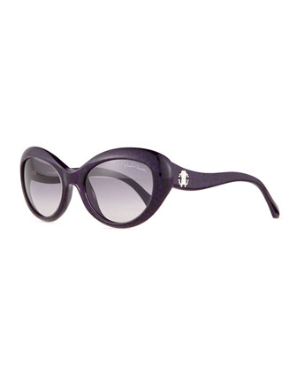 Cat-Eye Acetate Sunglasses, Shaded Blue