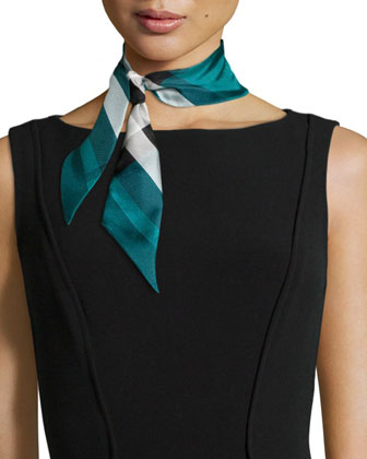 Super Exploded Check Silk Scarf, Aqua