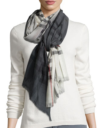 Ombre Wool-Blend Macro Check Scarf, Ivory