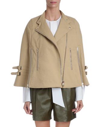 Moto Cape Jacket, Beige
