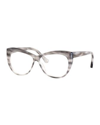 Clarence Cat-Eye Optical Frames, Gray Horn