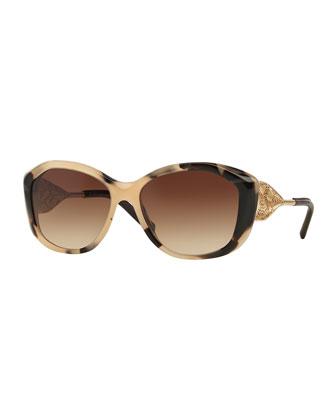 Square Lace-Temple Sunglasses