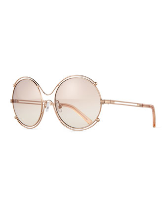 Isidora Wire-Rimmed Sunglasses, Rose Gold
