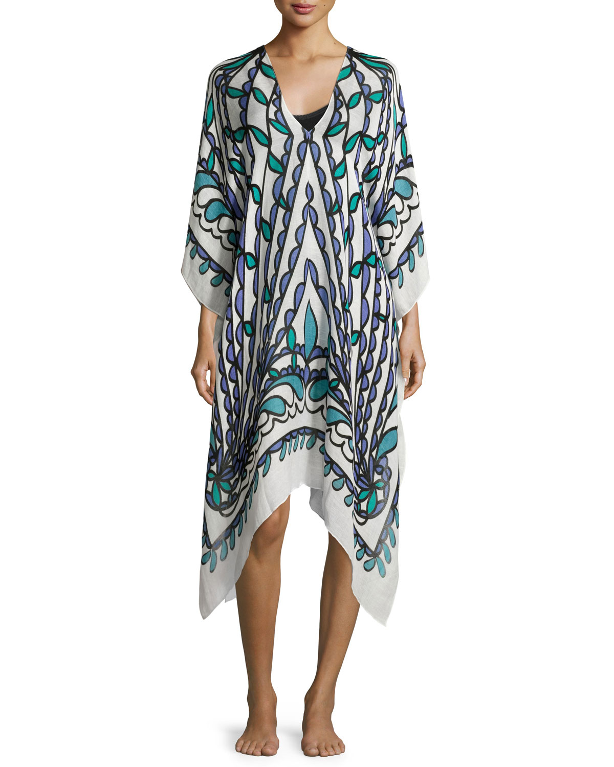 Papillon Printed Linen-Blend Caftan, Blue/Green, White Multi - Theodora & Callum