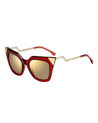 Iridia Mirror-Tip Cat-Eye Sunglasses