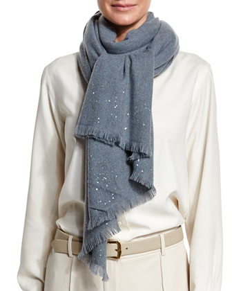 Astrale Sequined Cashmere-Blend Scarf