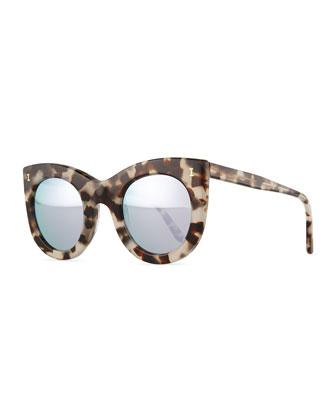 Boca Cat-Eye Sunglasses, White Tortoise/Silver