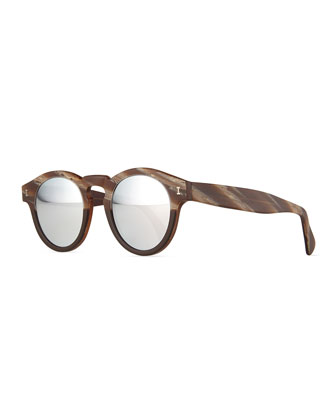 Leonard Mirrored Sunglasses, Matte Brown