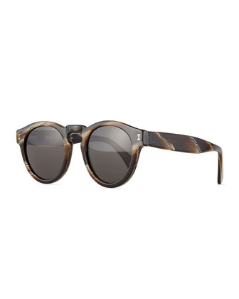 Leonard Square Sunglasses, Brown Marble