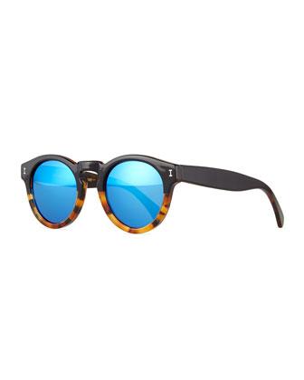 Half & Half Leonard Square Sunglasses, Black