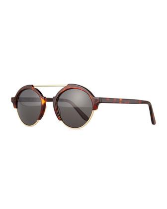 Milan III Round Sunglasses, Havana