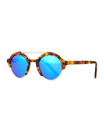 Milan IV Round Sunglasses, Brown Tortoise