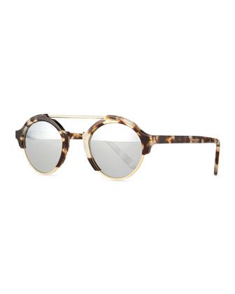 Milan IV Round Sunglasses, White Tortoise