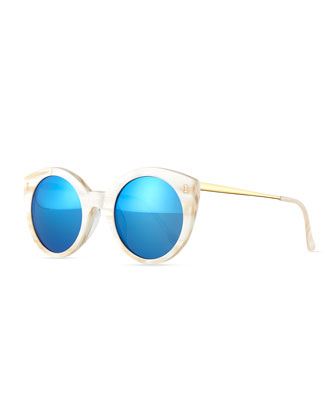 Palm Beach Cat-Eye Sunglasses, Cream