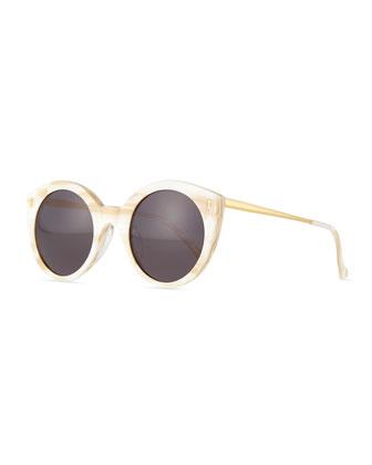 Palm Beach Round Sunglasses, Cream