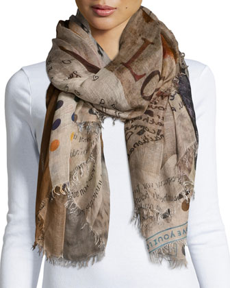 Passion Patchwork-Print Scarf, Tan