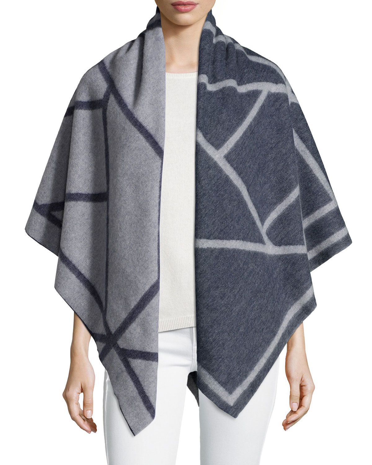 Fret Jacquard Blanket Scarf, Women's, Brown - Tory Burch