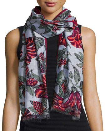 Oversize Floral Silk-Blend Scarf, Green Acre