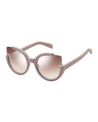 Semi-Rimless Cat-Eye Sunglasses