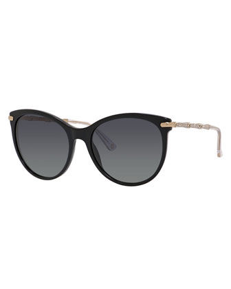 Rhinestone Cat-Eye Sunglasses, Black