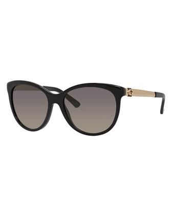 Plastic & Metal Cat-Eye Sunglasses, Black
