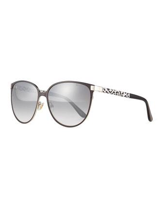 Posie Leopard-Print Metal Cat-Eye Sunglasses