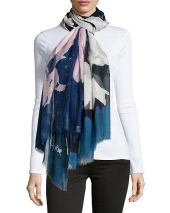 Grace Floral Scarf, Blue