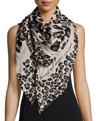 Painted Leopard Scarf, Tan/Black