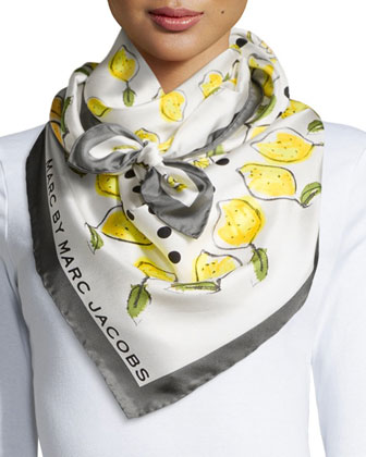 Lemon Silk-Twill Square Scarf, Yellow/Green