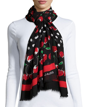 Double Cherry Scarf, Red/Black