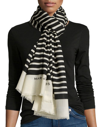 Jacqueline Wool Striped Scarf
