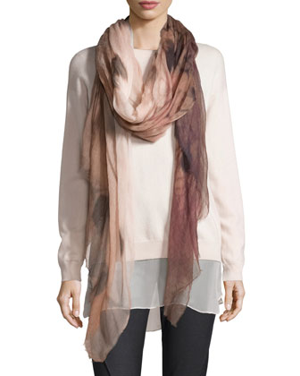 Ombre Patterned Cashmere Scarf, Rose