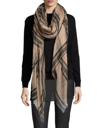Striped Cashmere Scarf, Twine