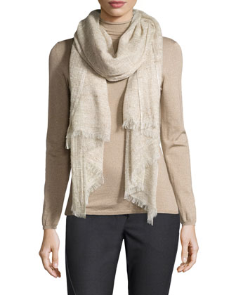 Woven Neutral Linen/Cashmere Scarf, Twine