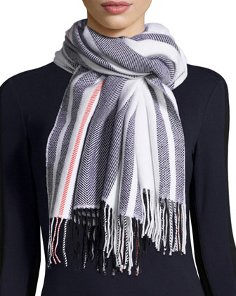 Striped Wrap Wool Scarf