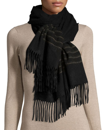 Wool Brush-Stripe Scarf
