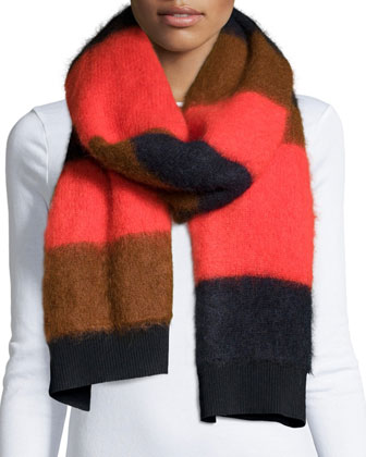 Petra Striped Felted Scarf, Fiery Red